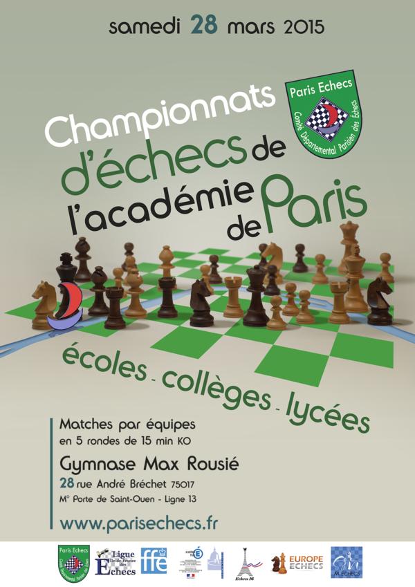 Championnats d'échecs de l'Académie de Paris : l'École Massillon présente 2 équipes !