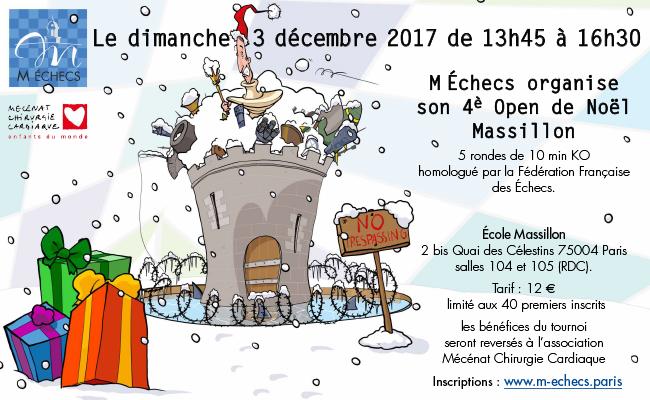 4ème Open de Noël Massillon : dimanche 3 décembre 2017
