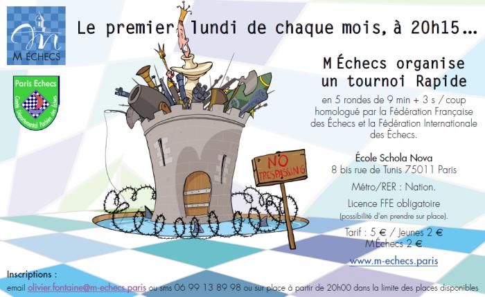 24ème Rapide M Échecs : lundi 1er avril 2019 à 20h15
