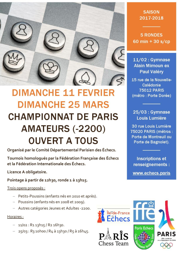 Championnat de Paris Amateurs (-2200) 2018