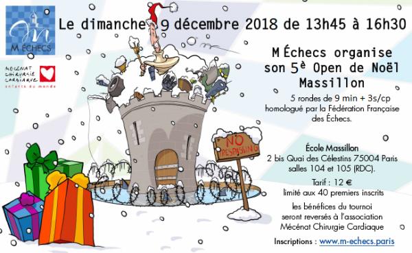 5ème Open de Noël Massillon : dimanche 9 décembre 2018