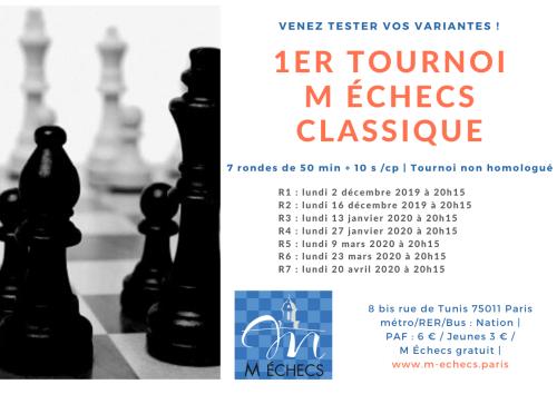 1er tournoi M Échecs Classique