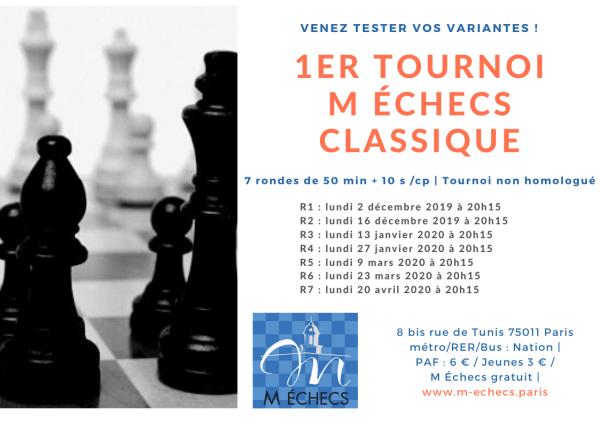 1er Tournoi M Échecs Classique (non homologué)